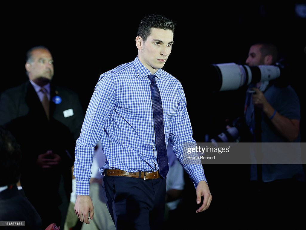 Michael Dal Colle walks to the stage after being selected fifth overall by the New York Islanders in the first round of the 2014 NHL Draft at the Wells Fargo Center on June 27, 2014 in Philadelphia, Pennsylvania.