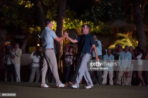 Michael Davan and Michael Buttacavoli shake hands during the final round of the PGA TOUR Latinoamérica Flor de Cana Open at Mukul Beach Golf and Spa...