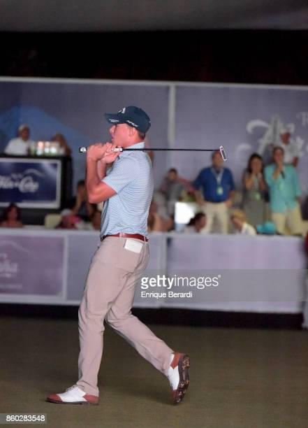 Michael Davan of the United States misses a birdie putt on the 18th hole during the final round of the PGA TOUR Latinoamérica Flor de Cana Open at...