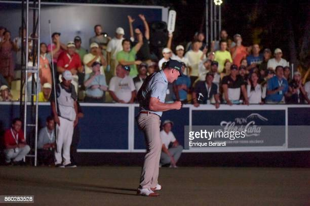 Michael Davan of the United States reacts to making a birdie on the 18th hole during the final round of the PGA TOUR Latinoamérica Flor de Cana Open...