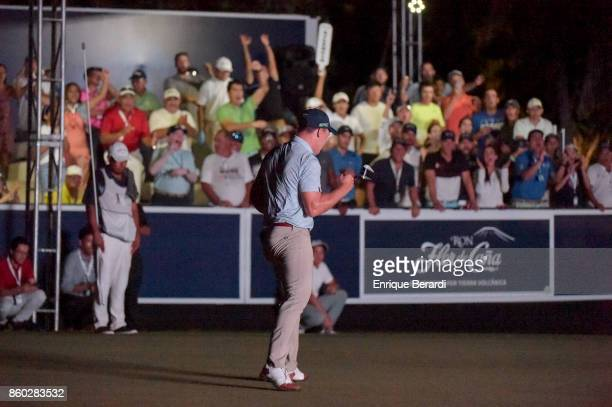 Michael Davan of the United States reacts to making a birdie putt on the 18th hole during the final round of the PGA TOUR Latinoamérica Flor de Cana...