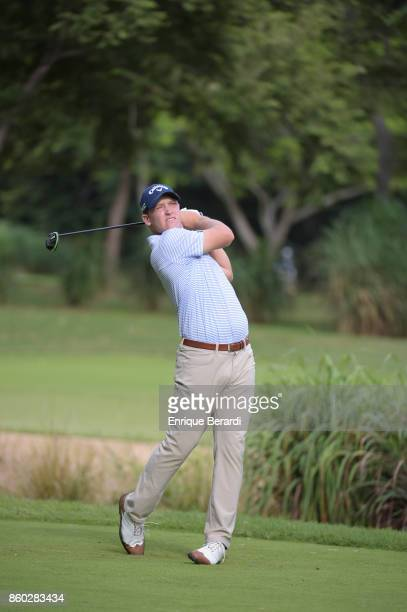 Michael Davan of the United States tees off on the 16th hole during the final round of the PGA TOUR Latinoamérica Flor de Cana Open at Mukul Beach...