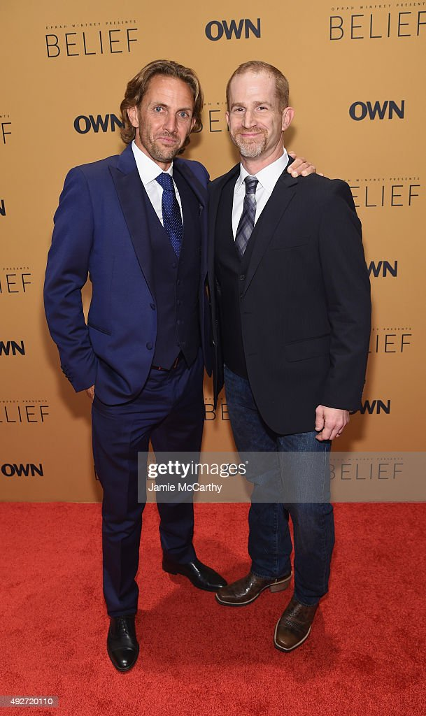 Michael Davie and Eric Strauss attend the 'Belief' New York premiere at TheTimesCenter on October 14, 2015 in New York City.