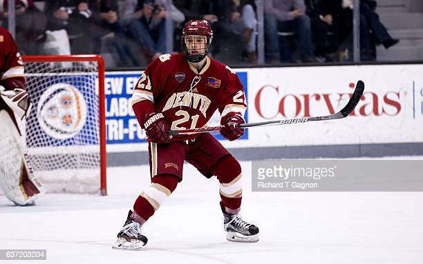 Michael Davies of the Denver Pioneers skates against the Providence College Friars during NCAA hockey at the Schneider Arena on December 30 2016 in...