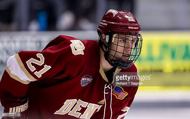 Michael Davies of the Denver Pioneers warms up prior to an NCAA hockey game against the Providence College Friars at the Schneider Arena on December...