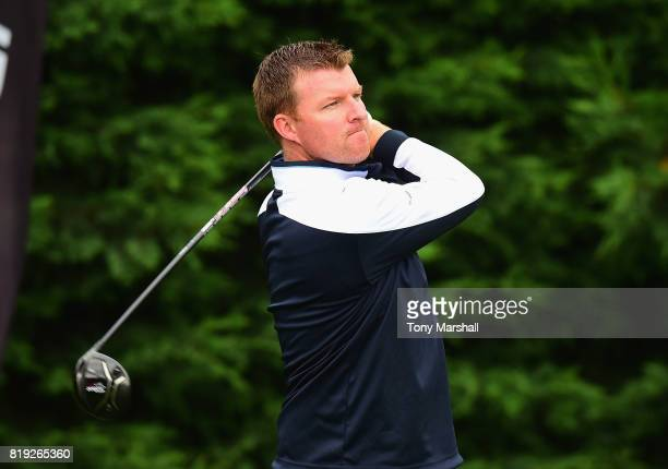 Michael Davis of South Beds Golf Club plays his first shot on the 1st tee during the PGA Lombard Trophy East Qualifier at Sandy Lodge Golf Club on...