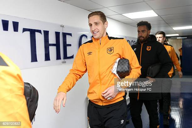 Michael Dawson of Hull City arrives at the stadiium prior to kick off during the Premier League match between Tottenham Hotspur and Hull City at...