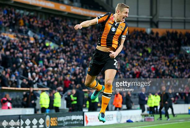 Michael Dawson of Hull City celebrates scoring his sides second goal during the Premier League match between Hull City and Southampton at KC Stadium...