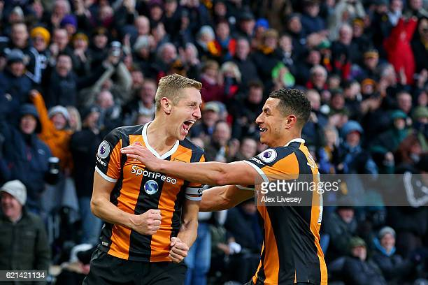 Michael Dawson of Hull City celebrates scoring his sides second goal with Curtis Davies of Hull City during the Premier League match between Hull...