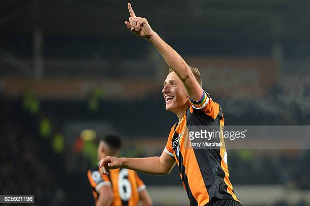 Michael Dawson of Hull City celebrates scoring his team's first goal during the Premier League match between Hull City and West Bromwich Albion at...