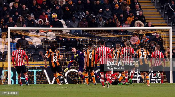 Michael Dawson of Hull City scores his sides second goal during the Premier League match between Hull City and Southampton at KC Stadium on November...