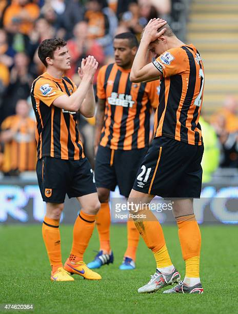 Michael Dawson of Hull City shows his dejection after being relegated from the Premier League during the Barclays Premier League match between Hull...
