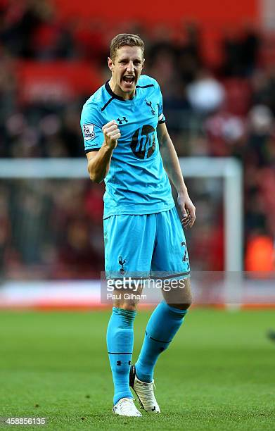Michael Dawson of Spurs celebrates following his team's 32 victory during the Barclays Premier League match between Southampton and Tottenham Hotspur...
