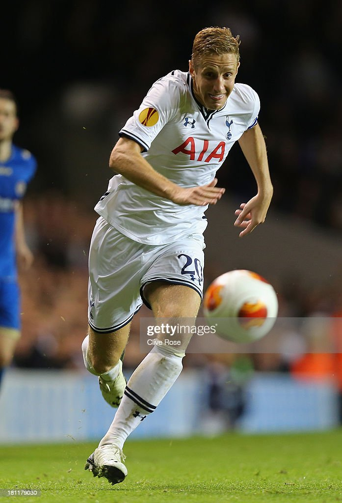 Michael Dawson of Spurs in action during the UEFA Europa League Group K match between Tottenham Hotspur FC and Tromso IL at White Hart Lane on September 19, 2013 in London, England.