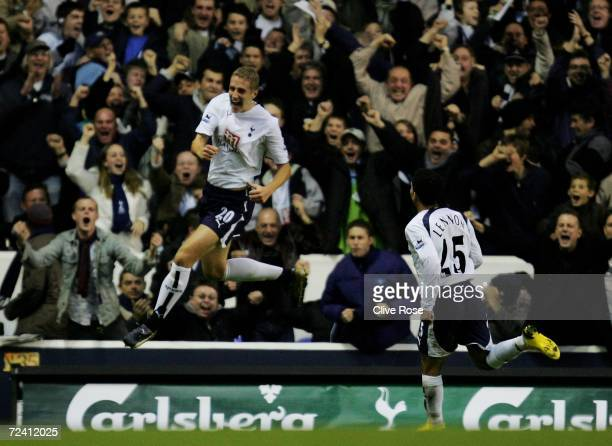 Michael Dawson of Tottenham celebrates after he scored his teams first goal of the game during the Barclays Premiership match between Tottenham...