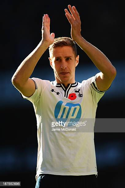 Michael Dawson of Tottenham Hotspur acknowledges the crowd before the Barclays Premier League match between Tottenham Hotspur and Newcastle United at...