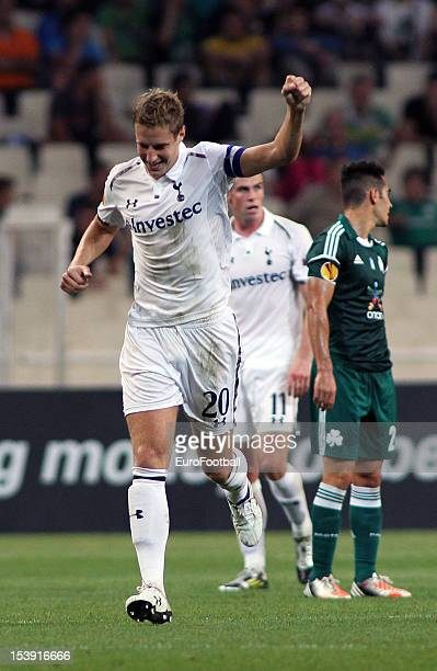 Michael Dawson of Tottenham Hotspur FC celebrates his goal during the UEFA Europa League group stage match between Panathinaikos FC and Tottenham...