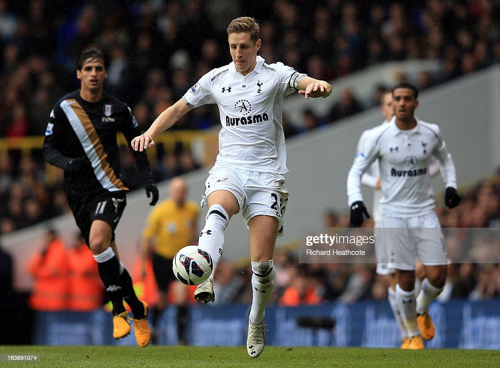 <a gi-track='captionPersonalityLinkClicked' href=/galleries/search?phrase=Michael+Dawson+-+Soccer+Player&family=editorial&specificpeople=453217 ng-click='$event.stopPropagation()'>Michael Dawson</a> of Tottenham Hotspur in action during the Barclay's Premier League match between Tottenham Hotspur and Fulham at White Hart Lane on March 17, 2013 in London, England.