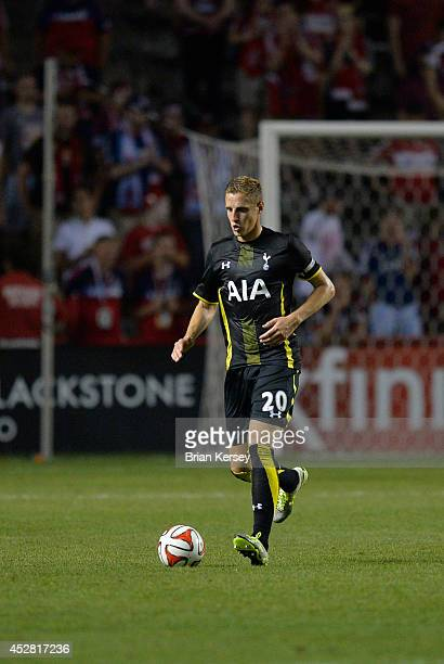 Michael Dawson of Tottenham Hotspur moves the ball during the second half at Toyota Park on July 26 2014 in Bridgeview Illinois Tottenham Hotspur...