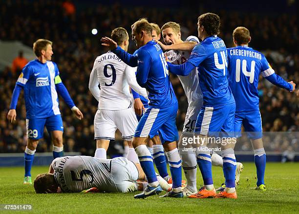 Michael Dawson of Tottenham Hotspur shouts at Roman Zozulya of Dnipro Dnipropetrovsk after he appeared to clash with Jan Vertonghen of Tottenham...
