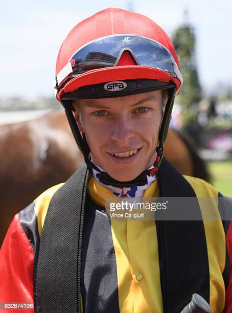Michael Dee after riding Navagio to win Race 1 during Melbourne Racing at Flemington Racecourse on January 28 2017 in Melbourne Australia