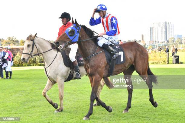 Michael Dee returns to the mounting yard aboard Guangzhou after winning the Winx Hall of Fame Trophy at Flemington Racecourse on May 20 2017 in...