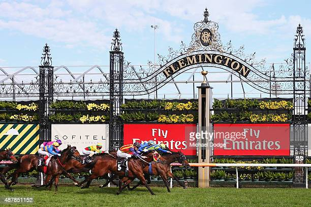 Michael Dee riding Churchill Dancer wins ahead of Mark Zahra riding Under The Louvre and Damien Lane riding Gregers in Race 6 The Bobby Lewis Quality...