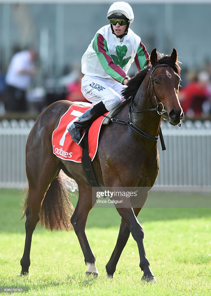 Michael Dee riding Divine Mr Artie after winning Race 6 during Melbourne Racing at Caulfield Racecourse on April 30, 2016 in Melbourne, Australia.