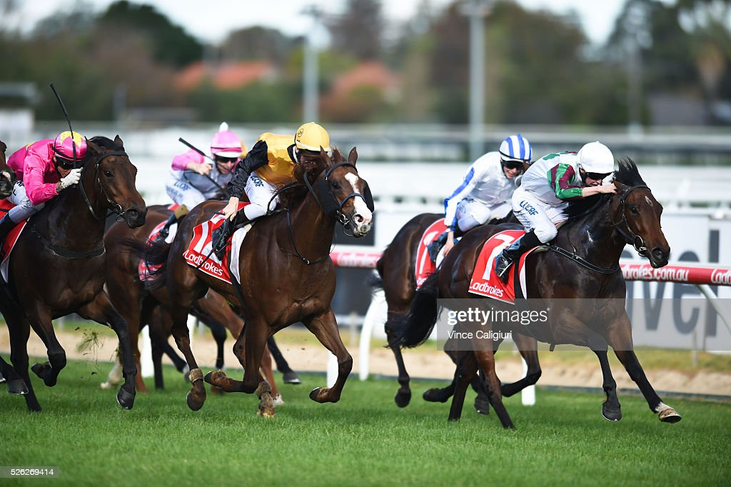 Michael Dee riding Divine Mr Artie wins Race 6 during Melbourne Racing at Caulfield Racecourse on April 30, 2016 in Melbourne, Australia.