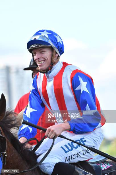 Michael Dee riding Guangzhou after winning Race 4 Winx Hall of Fame Trophy during Melbourne Racing at Flemington Racecourse on May 20 2017 in...