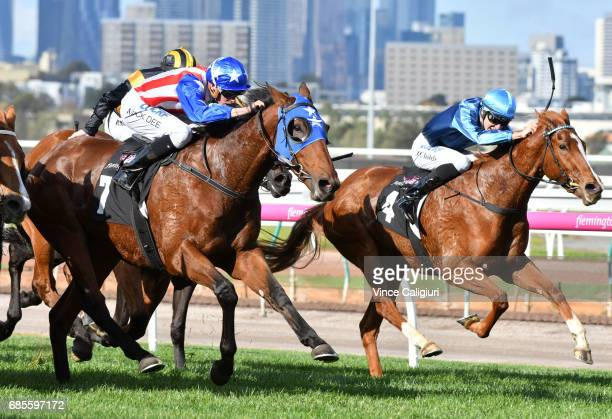 Michael Dee riding Guangzhou wins Race 4 Winx Hall of Fame Trophy during Melbourne Racing at Flemington Racecourse on May 20 2017 in Melbourne...