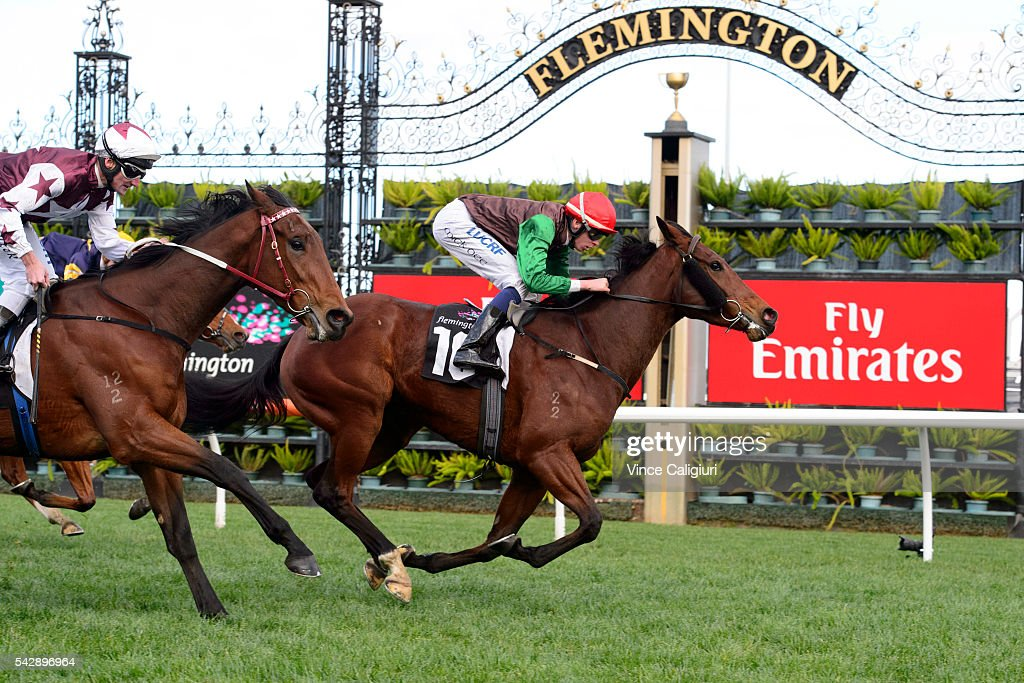 Michael Dee riding Lady Selkirk wins Race 6 during Melbourne Racing at Flemington Racecourse on June 25, 2016 in Melbourne, Australia.