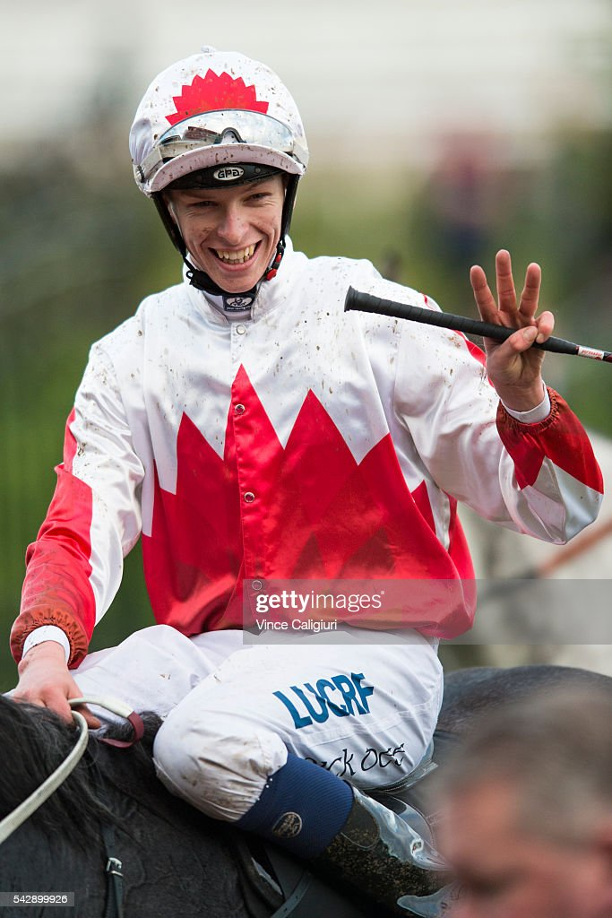 Michael Dee riding Master of Arts acknowledges his third winner for the day after Race 8 during Melbourne Racing at Flemington Racecourse on June 25, 2016 in Melbourne, Australia.