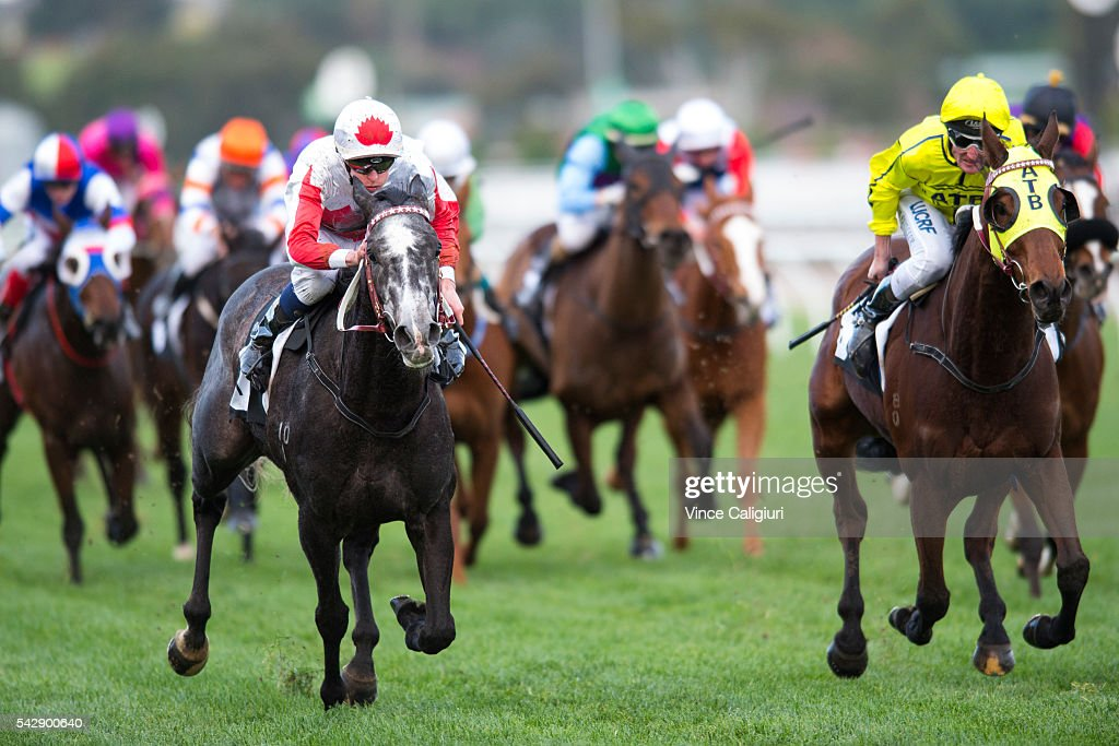 Michael Dee riding Master of Arts wins Race 8 during Melbourne Racing at Flemington Racecourse on June 25, 2016 in Melbourne, Australia.