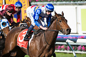 Michael Dee riding O'Lonera wins Race 3 during Melbourne Racing at Caulfield Racecourse on July 16 2016 in Melbourne Australia