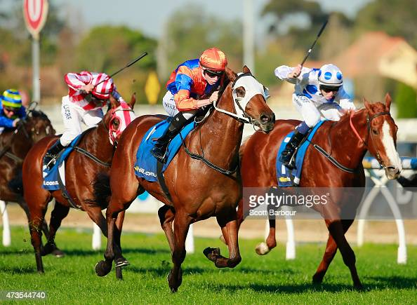 Michael Dee riding Red Bomber wins race 6 the Carlton Draught Handicap during Taralye Race Day at Caulfield Racecourse on May 16 2015 in Melbourne...