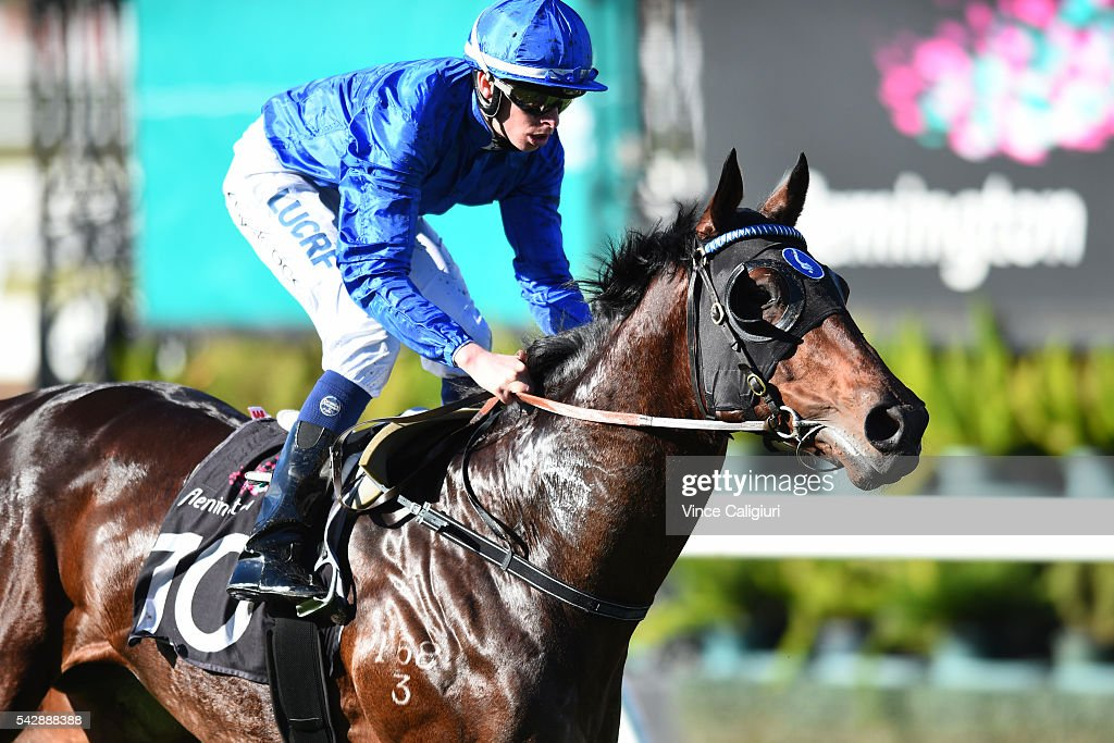 Michael Dee riding Trenchant wins Race 1, during Melbourne Racing at Flemington Racecourse on June 25, 2016 in Melbourne, Australia.
