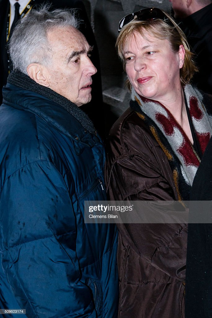Michael Degen (L) and Susanne Sturm attends the Wolfgang Rademann memorial service on February 11, 2016 in Berlin, Germany.