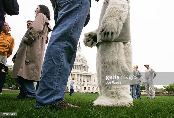 Michael Degnan from the Alaska Wilderness League dressed as a polar bear stands with others during an event sponsored by Ben and Jerry's ice cream to...