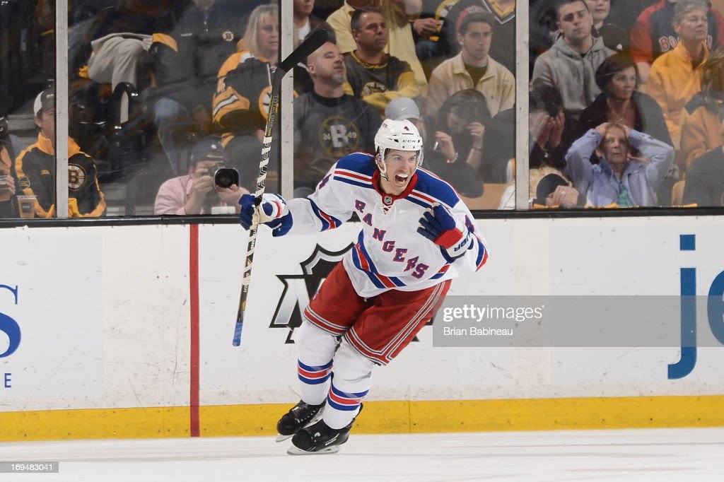 Michael Del Zotto #4 of the New York Rangers celebrates a goal against the Boston Bruins in Game Five of the Eastern Conference Semifinals during the 2013 NHL Stanley Cup Playoffs at TD Garden on May 25, 2013 in Boston, Massachusetts.