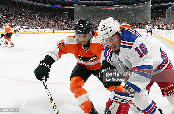 Michael Del Zotto of the Philadelphia Flyers battles in the corner against JT Miller of the New York Rangers on February 28 2015 at the Wells Fargo...