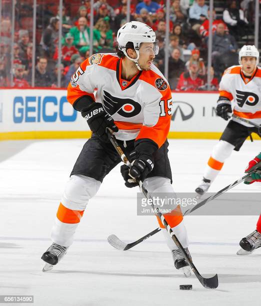 Michael Del Zotto of the Philadelphia Flyers in action against the New Jersey Devils on March 16 2017 at Prudential Center in Newark New Jersey The...