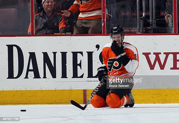 Michael Del Zotto of the Philadelphia Flyers reacts after a game winning goal by Melker Karlsson of the San Jose Sharks at the Wells Fargo Center on...