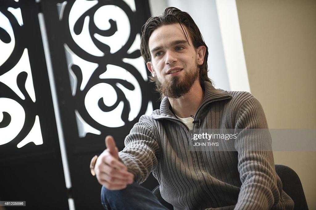 Michael Delforterie an ex djihadist known as 'Younes' answers a journalist's questions in Mechelen on June 4 2015 AFP PHOTO / JOHN THYS