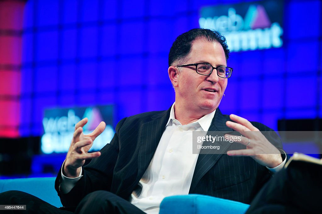 Michael Dell founder and chief executive officer of Dell Inc gestures as he speaks at the Web Summit in Dublin Ireland on Tuesday Nov 3 2015 The...