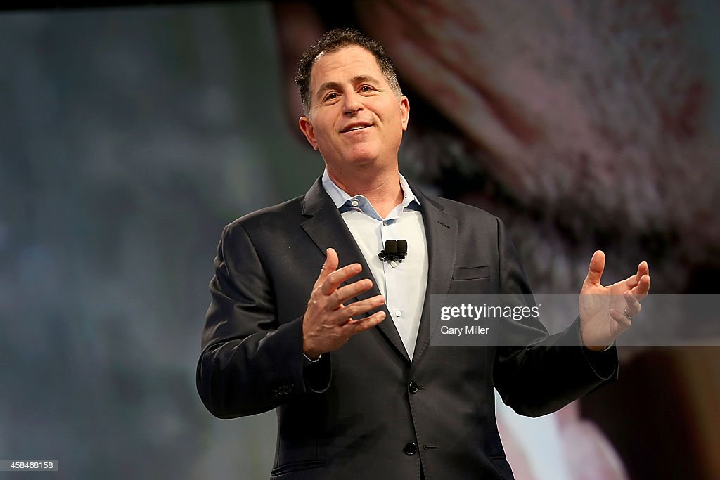Michael Dell gives the keynote address to Dell employees to kick off Dell World 2014 at the Austin Convention Center on November 5 2014 in Austin...