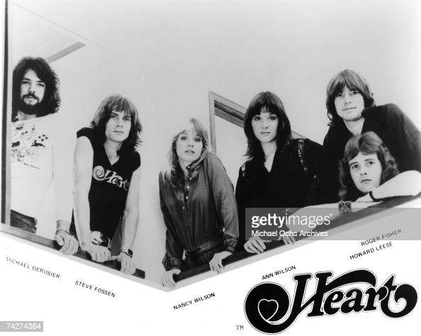 Michael Derosier Steve Fossen Nancy Wilson Ann Wilson Roger Fisher Howard Leese of the rock band 'Heart' pose for a portrait in circa 1975