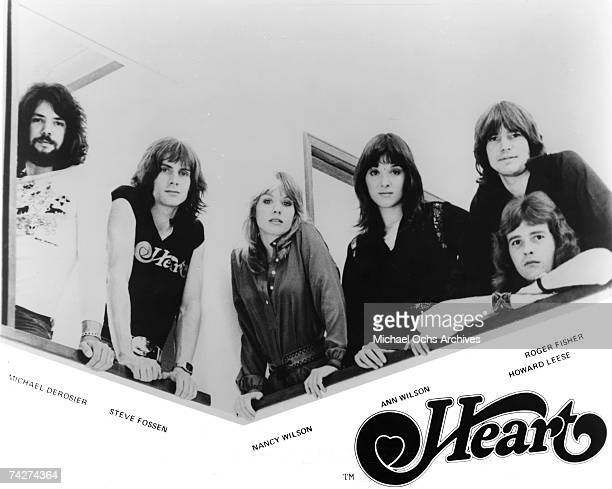 Michael Derosier Steve Fossen Nancy Wilson Ann Wilson Roger Fisher Howard Leese of the rock band 'Heart' pose for a portrait in circa 1975