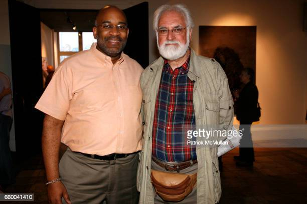 Michael Dinwiddie and Jim Chambers attend ANDREW LEVITAS works on canvas and steel curated by NEIL GRAYSON at Dactyl Gallery on May 9 2009 in New...