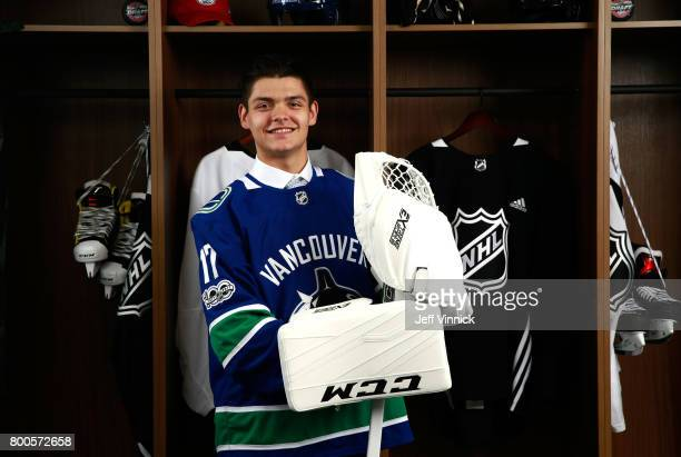 Michael DiPietro 64th overall pick of the Vancouver Canucks poses for a portrait during the 2017 NHL Draft at United Center on June 24 2017 in...